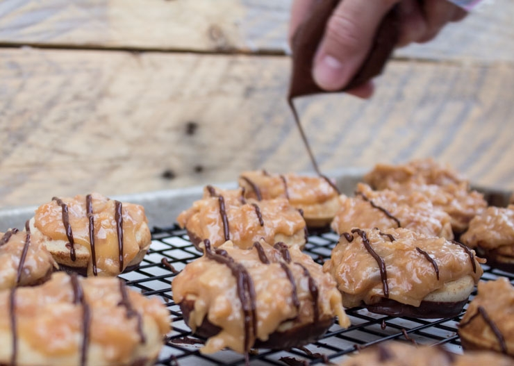 Chocolate Glazing Mini Samoa Doughnuts
