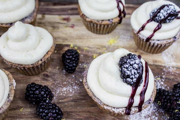 Blackberry Bourbon Cupcakes from SouthernFATTY.com