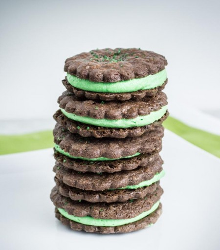 Chocolate Sables with Mint Filling