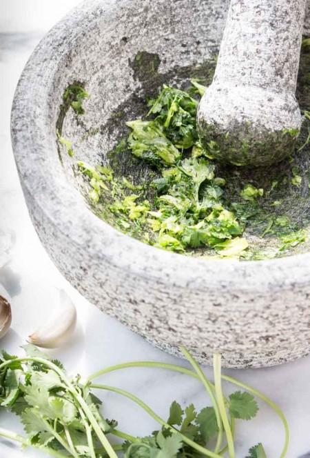 Cilantro and Garlic for Guacamole