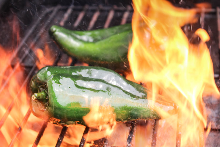 Fire Roasting Poblano Peppers