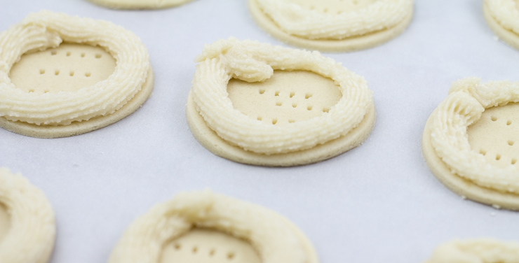 Marzipan Piped Around Shortbread Cookies