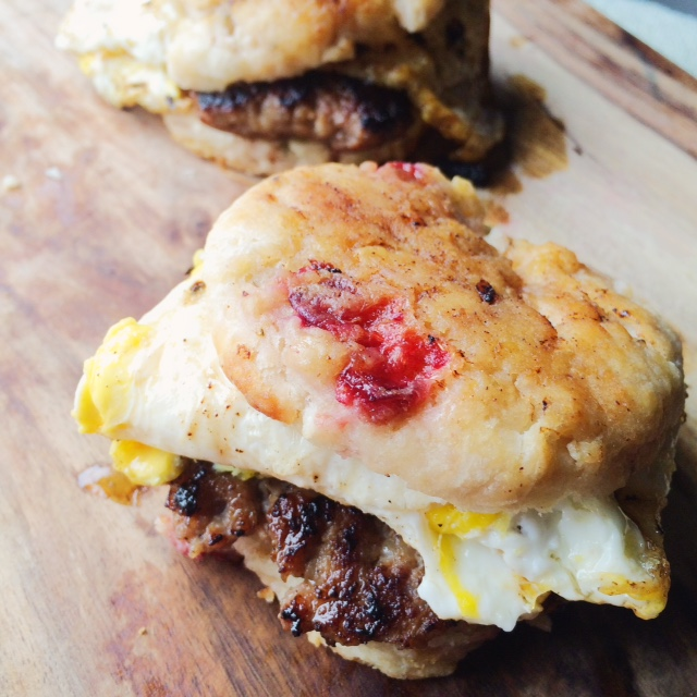 Blood Orange Sausage Egg Biscuit