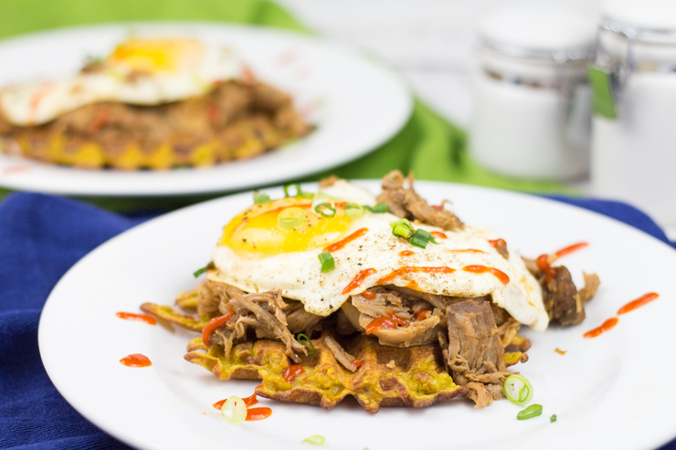 Sweet Potato Pulled Pork Waffles