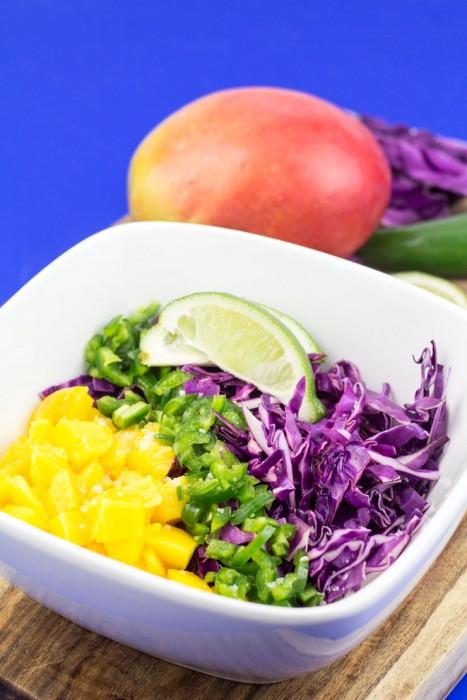 Mango Jalapeño Reb Cabbage Citrus Slaw