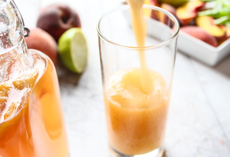 Frozen Peach Basil Daiquiri