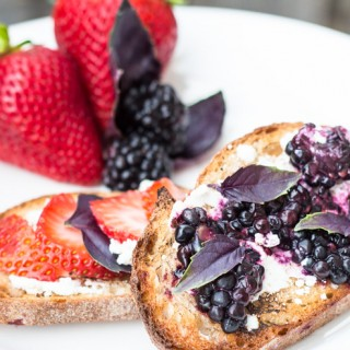 Goat Cheese Berry Basil Toast