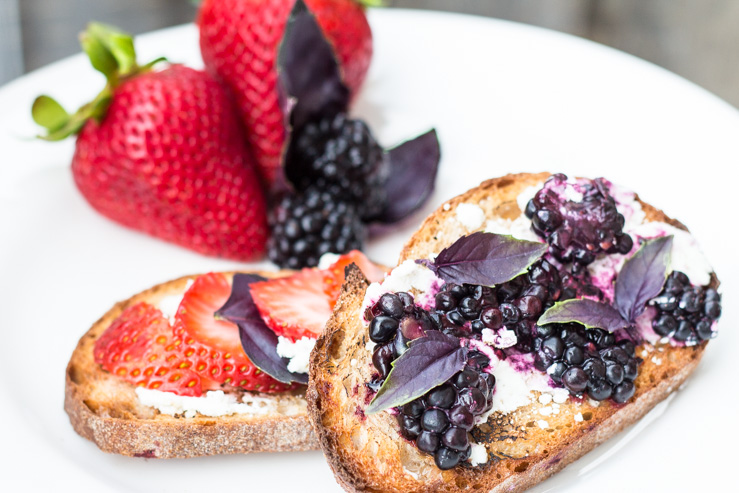 Goat Cheese Berry Basil Sourdough Toast