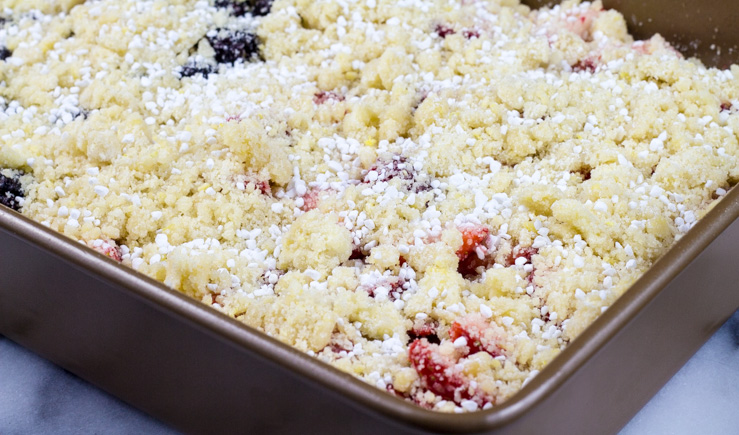Homemade Berry Bars with Streusel Topping ready to bake.