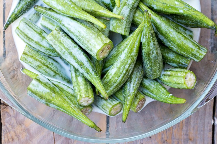 Okra Dip in Buttermilk