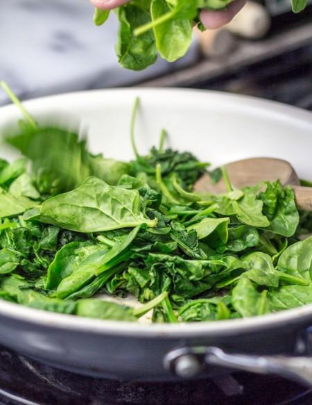 Sautéing the Spinach