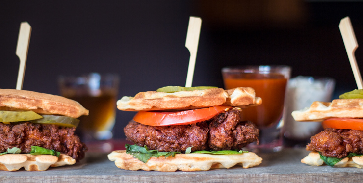 Hot Chicken Waffle Sliders