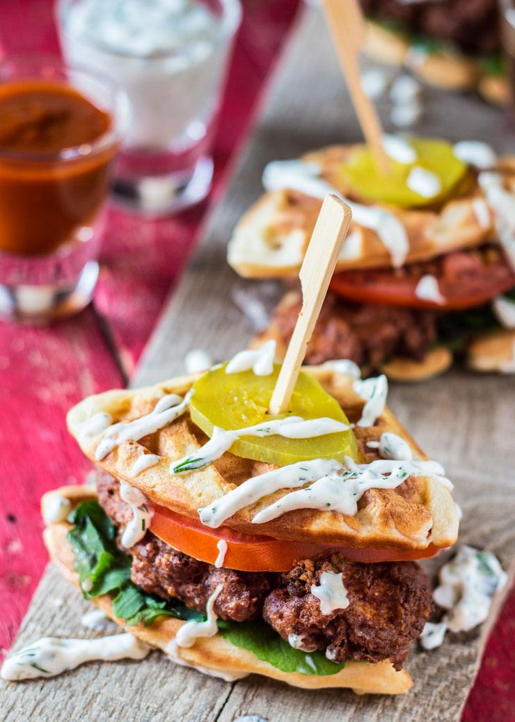Hot Chicken Waffle Sliders