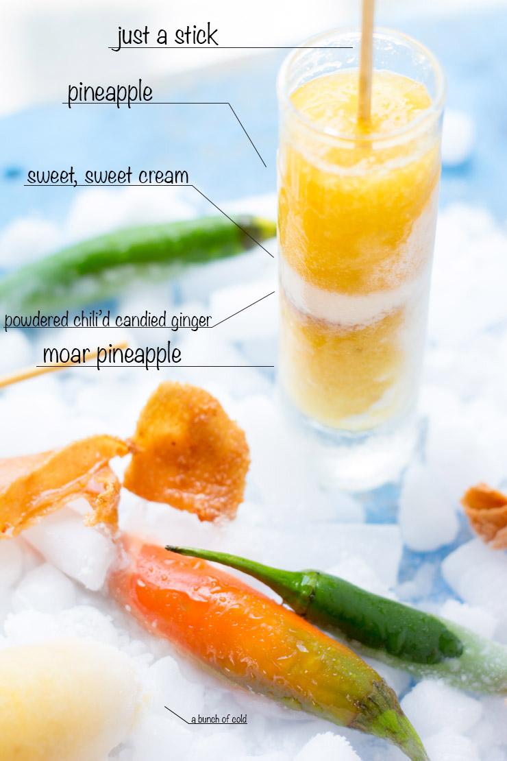 Anatomy of Pineapple Chili'd Ginger Cream Pops