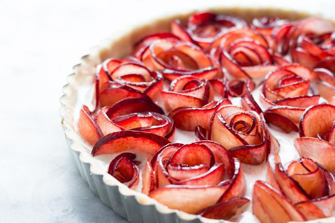 Pluot Meringue Tart before baking