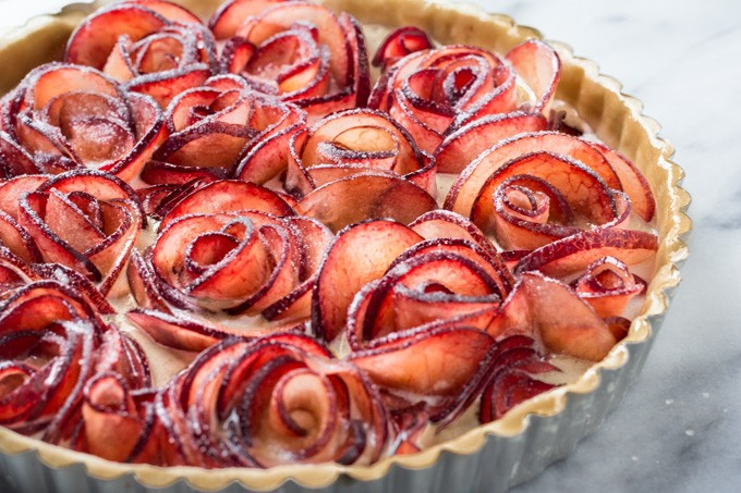 Sugar Topped Pluot Meringue Tart