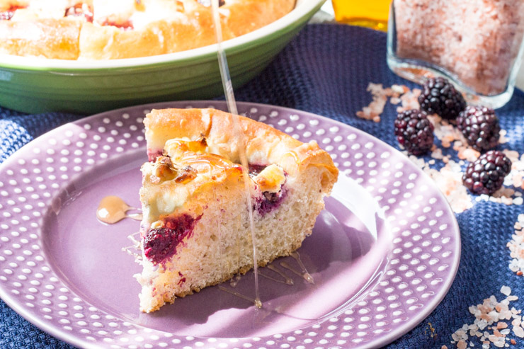 Blackberry Goat Cheese Focaccia drizzled with Honey