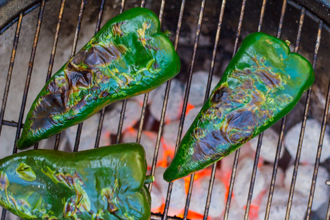Char-Grilled Poblano Peppers over Charcoal