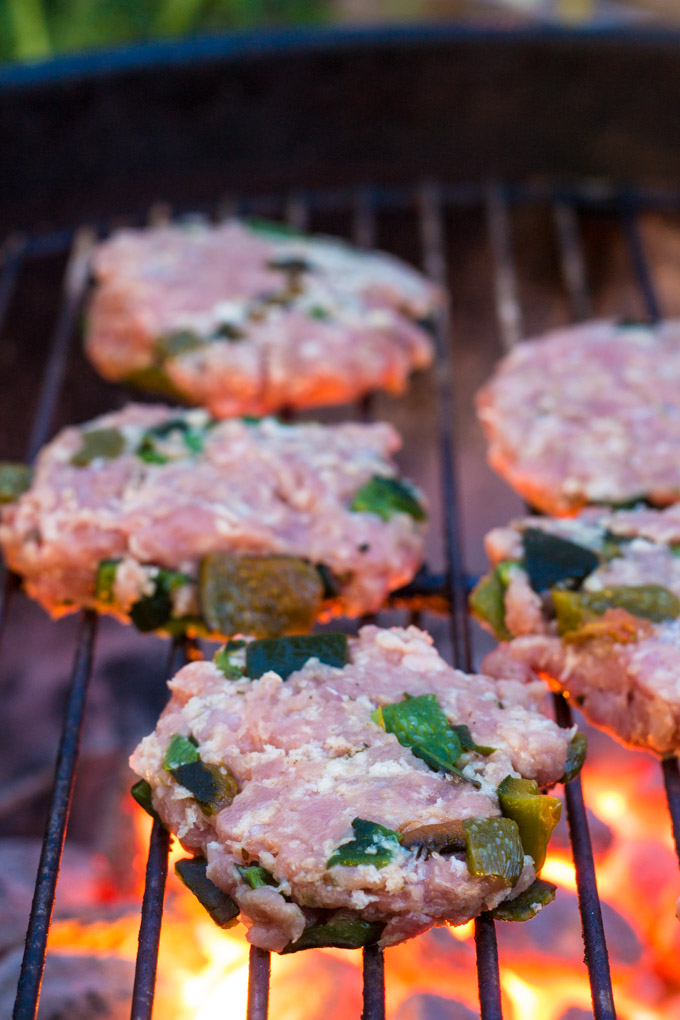Grilling the Poblano Turkey Sliders