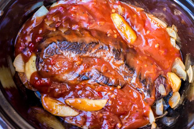 Flank Steak with Apple Bourbon Sauce