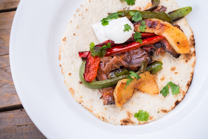 Apple Bourbon Steak Fajitas