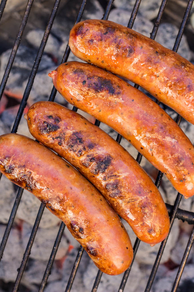 Andouille Sausages for Grilled Mustard BBQ Slaw