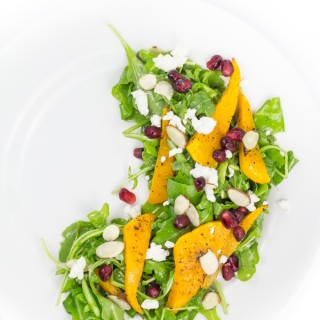 Salad with Pomegranate, Butternut, Goat Cheese, Almond with White Balsamic Vinaigrette
