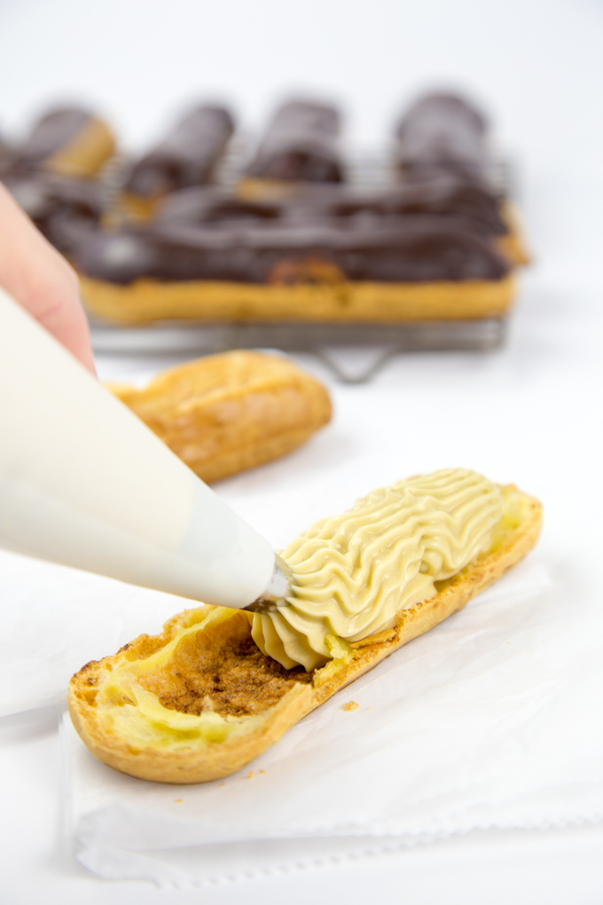 Brown Sugar Cinnamon Whiskey Cream Eclairs