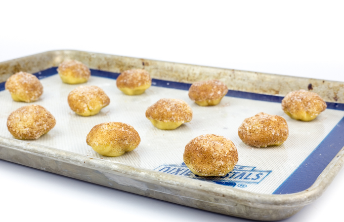 Caramel Stuffed Snickerdoole Cookies