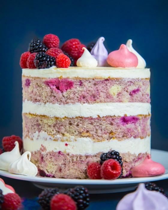 Salmon Birthday Cake: Berry Bourbon Cake