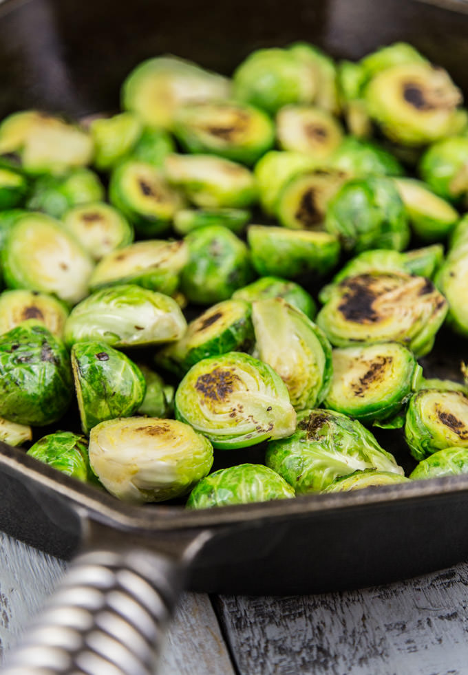 Pan Roasted Brussels Ready for the Oven