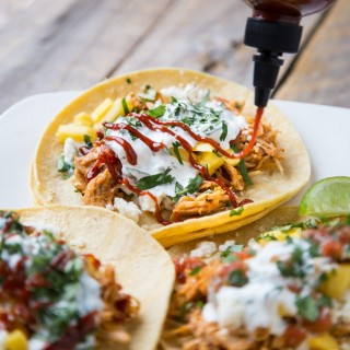 Chicken Tinga Tacos with Mango