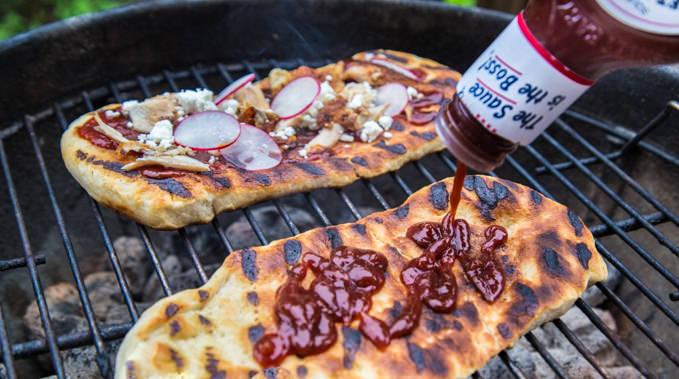 Rotisserie Chicken BBQ Grilled Flatbread