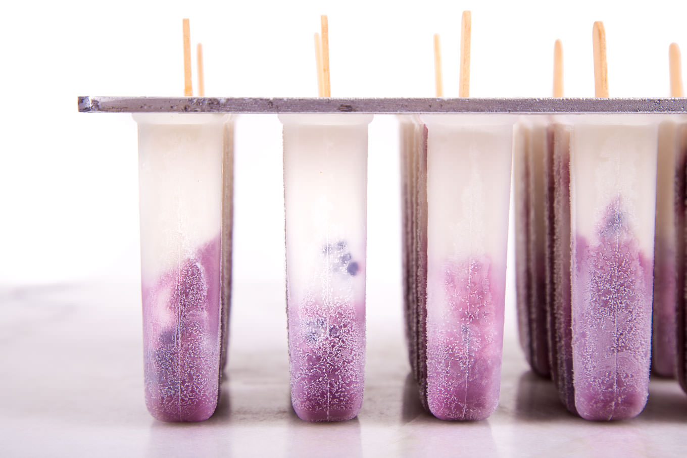 Frozen Blackberry Lavender Cream Paletas