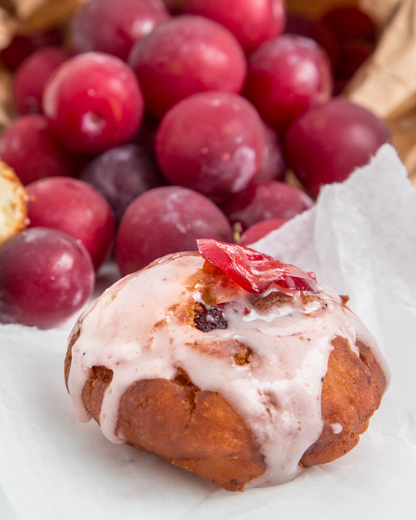 Plum Glazed Cake Donuts from SouthernFATTY.com