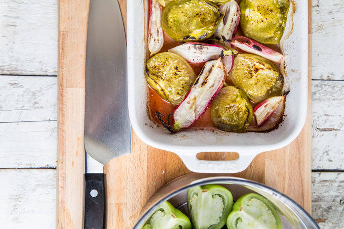 Roasted Tomatillos and Radishes - SouthernFATTY.com