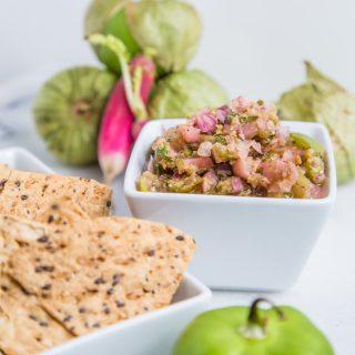 Roasted Tomatillo and Radish Salsa - SouthernFATTY.com