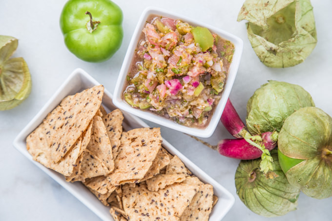 Roasted Tomatillo and Radish Salsa - SouthernFATTY.com