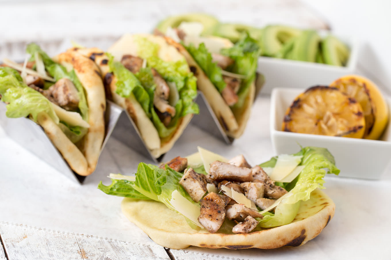 Chicken Caesar Naan Tacos by SouthernFATTY.com