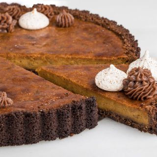 Gingersnap Pumpkin Tart with Nutmeg Meringues from SouthernFATTY.com