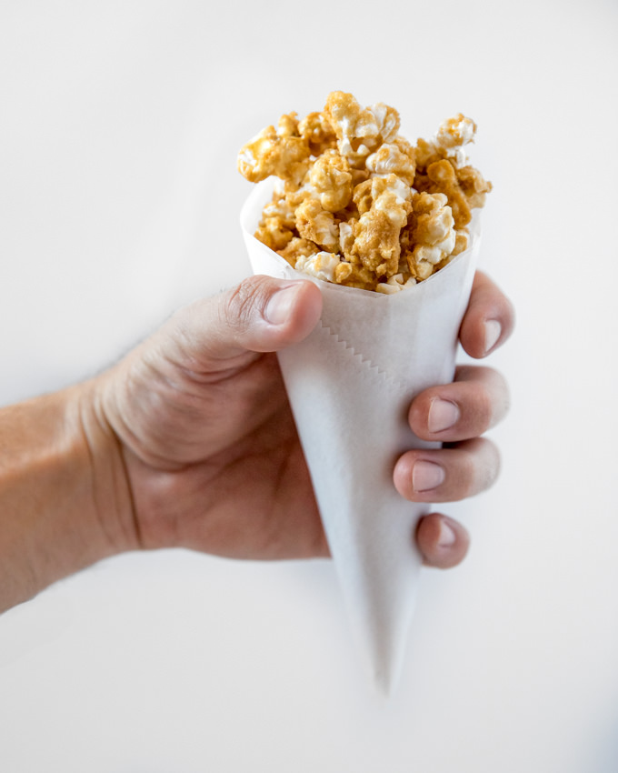 Whiskey Cream Caramel Popcorn from SouthernFATTY.com