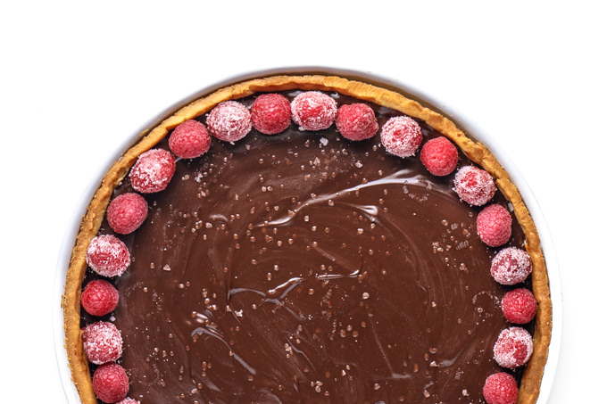 Simple Chocolate Ganache Tart with Sugared Raspberries