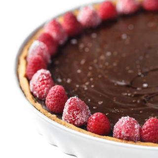 Simple Dark Chocolate Ganache Tart + Sugared Raspberries