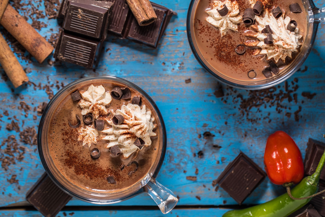 Mexican Hot Chocolate with Tequila Whipped Cream from SouthernFATTY.com