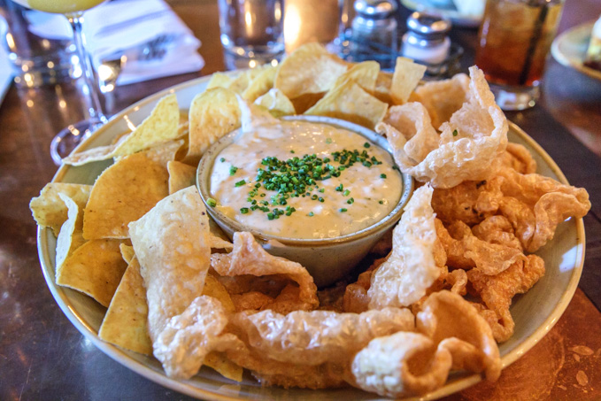 Homemade Pork Rinds and Queso at Le Moo in Louisville