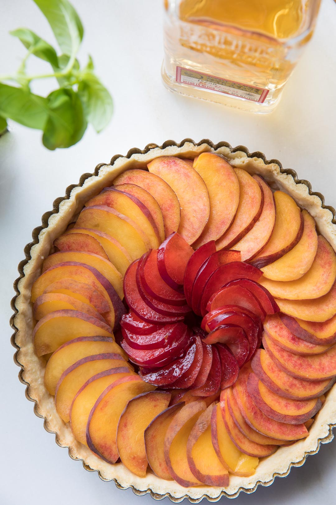 Tequila Glazed Peach Tart from Southern Fatty