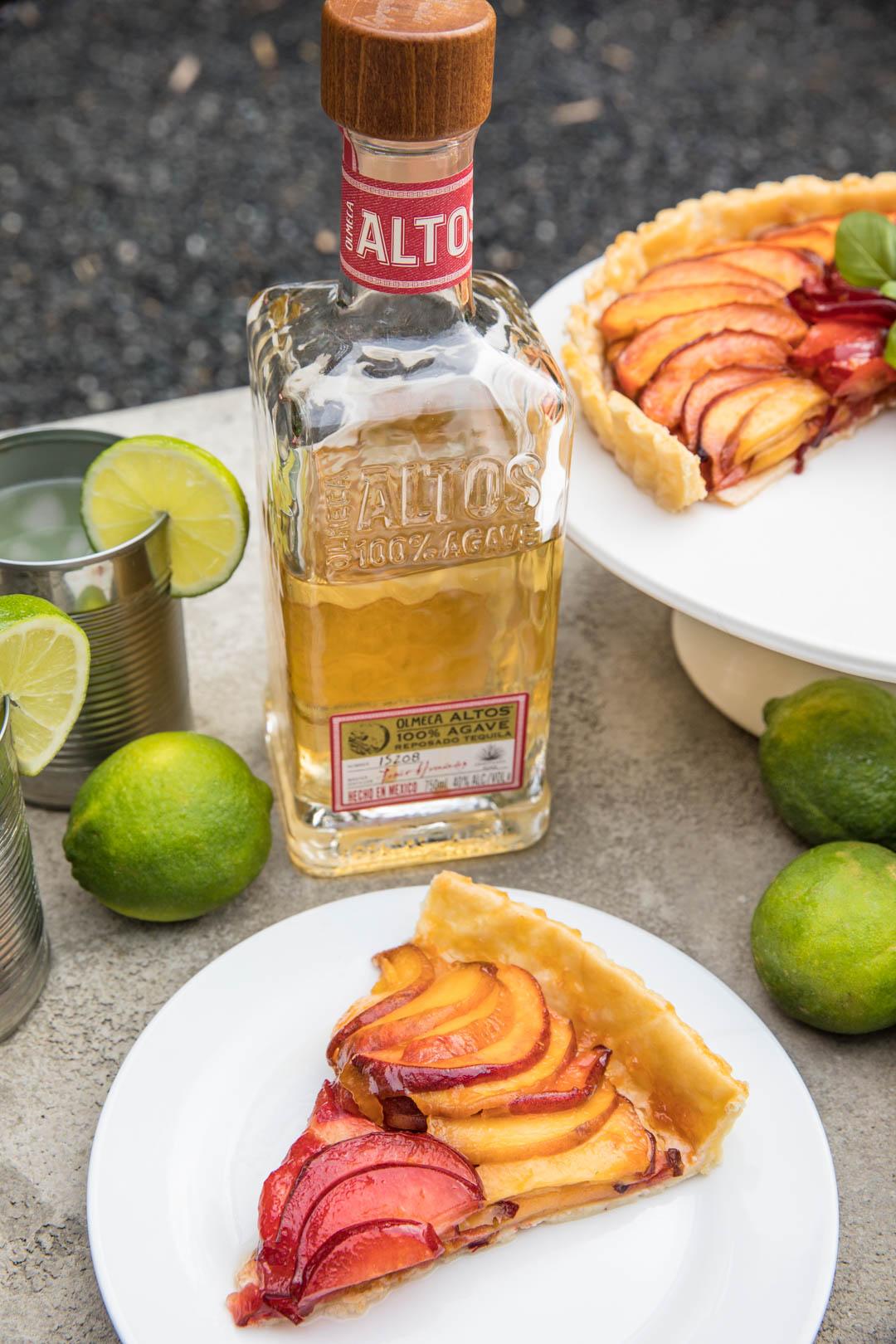 Tequila Glazed Peach Tart from Southern Fatty