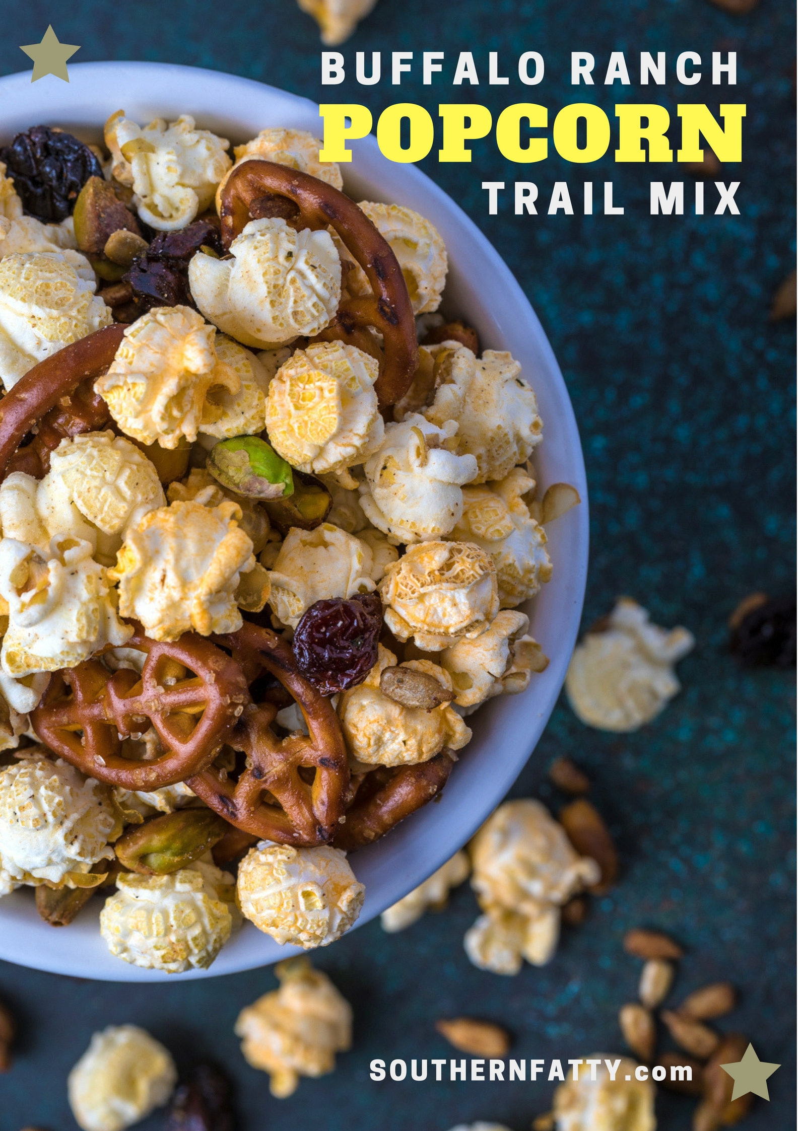 Buffalo Ranch Popcorn Trail Mix Recipe from SouthernFatty.com.