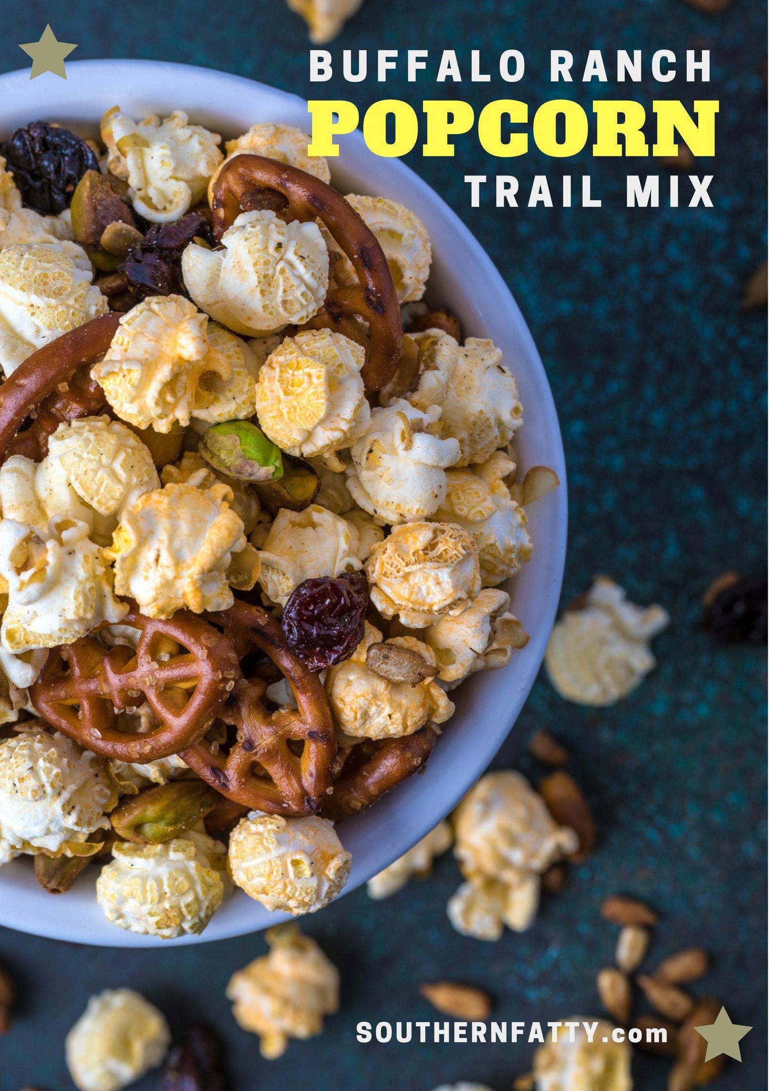 Buffalo Ranch Popcorn Trail Mix Recipe from SouthernFatty.com.