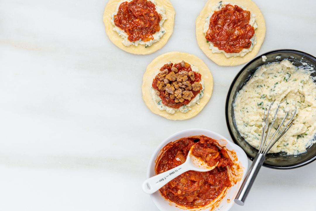 Assembling Lasagna Hand Pies